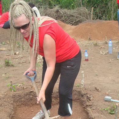 Student excavating