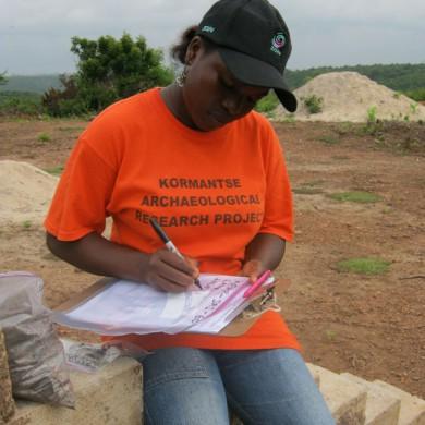 UCC student recording during excavation