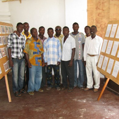 Local field crew and students at the temporary exhibition - 2011