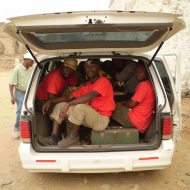 PSU and University of Cape Coast (UCC) Students on the way to the Site